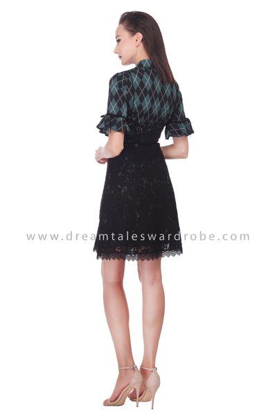 DT1072 Checkered Lace Blend Details Dress - Green