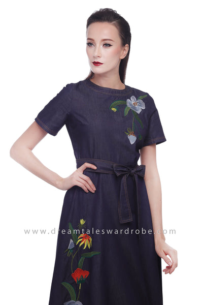 DT1073 Jeans Floral Embroidered Midi Dress -  Blue