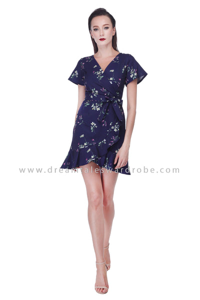DT1074 Ruffly Floral Dress - Blue