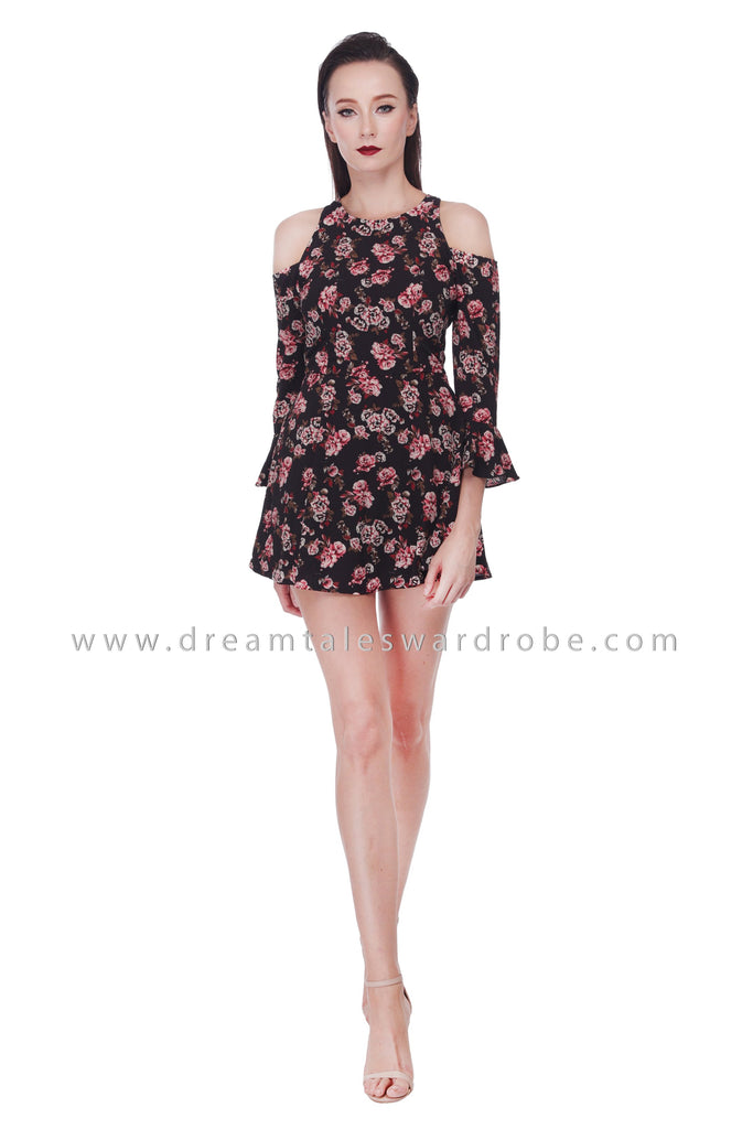 DT1076 Floral Skort Playsuit - Black