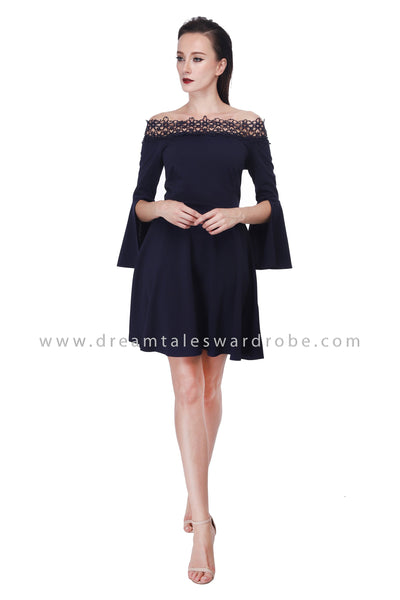 DT1077 Lace Off Shoulder Flare Sleeves Dress - Blue