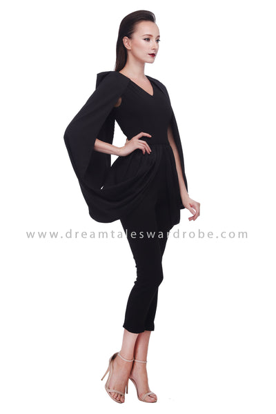 DT1081 Cape Details Jumpsuit - Black