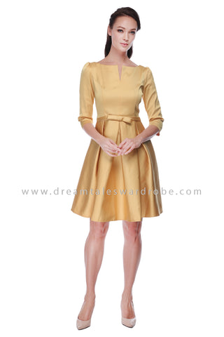 DT1090 Ribbon Belt Pleated Dress - Champagne