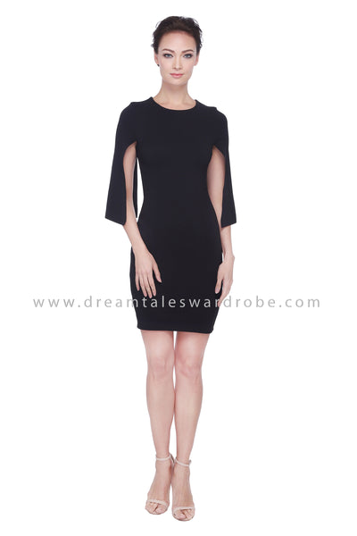 DT1093 Cape Details Pencil Dress -  Black