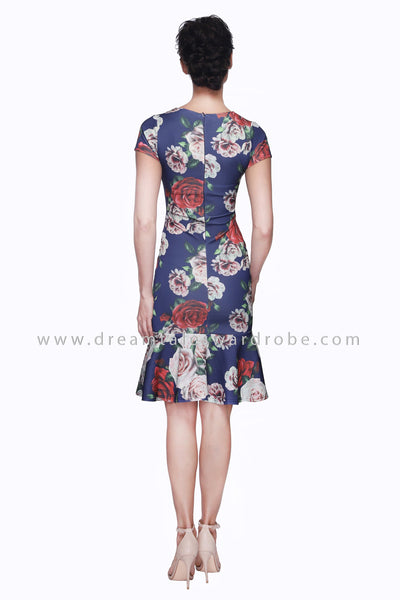 DT1098 Floral Mermaid Hem Dress - Dusky Blue