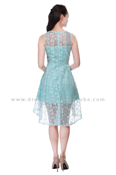 DT1099 Mesh Lace Asymmetrical Hem Dress - Powder Green