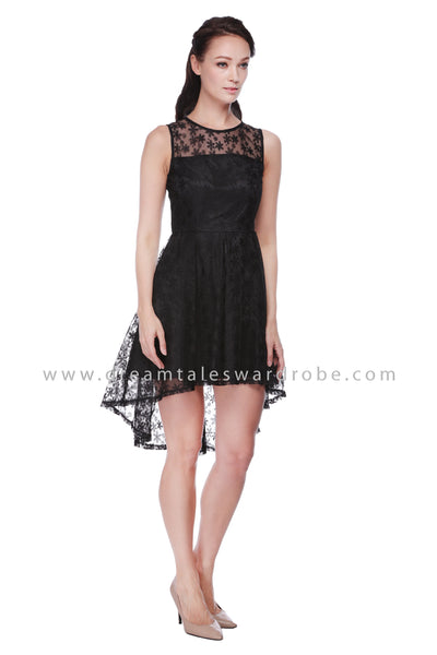 DT1099 Mesh Lace Asymmetrical Hem Dress - Black