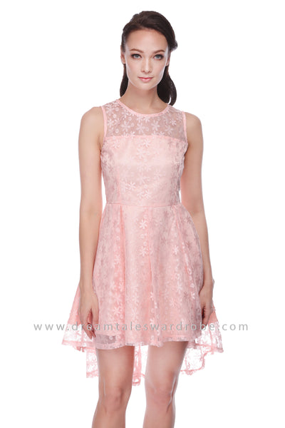DT1099 Mesh Lace Asymmetrical Hem Dress - Pink