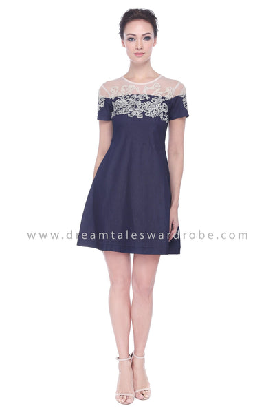 DT1100 Mesh Lace Jeans Dress -  Blue