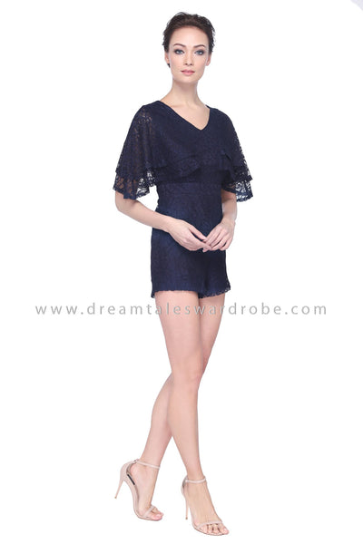 DT1101 Lace Flare Sleeves Playsuit - Blue