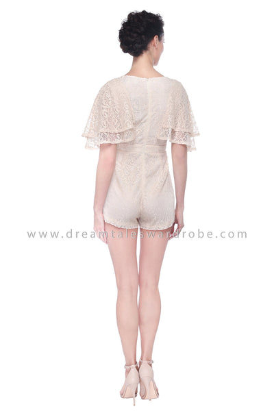 DT1101 Lace Flare Sleeves Playsuit -  Cream