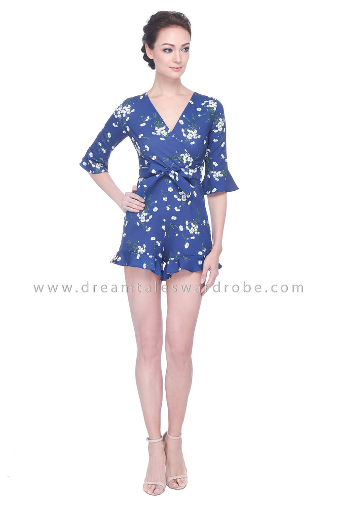 DT1102 Floral Wrap Playsuit - Blue