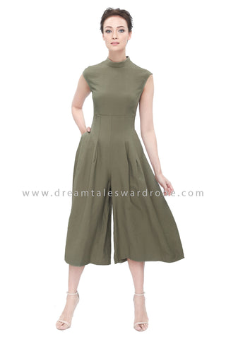 DT1176 High Neck Culottes Jumpsuit - Olive
