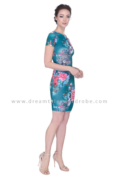 DT1106 Floral Pencil Dress -  Green