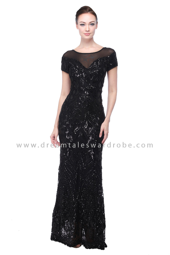 DT1107 Sequin Evening Prom Dress - Black