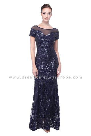 DT1107 Sequin Evening Dress - Blue