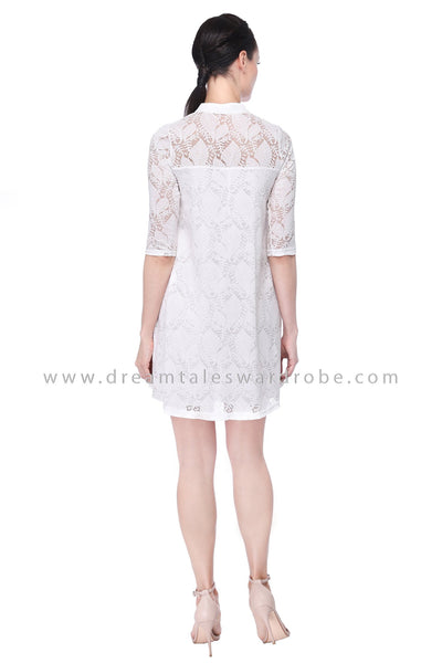 DT1108 Embroidered Flare Dress -  White