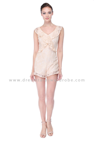 DT1111 Ruffles Playsuit -  Cream