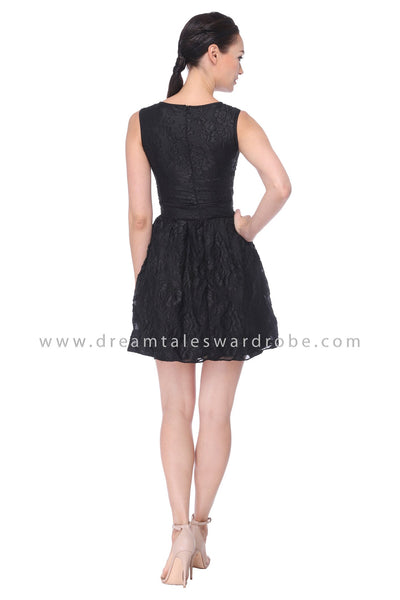 DT1112 3D Rose Fit & Flare Dress - Black