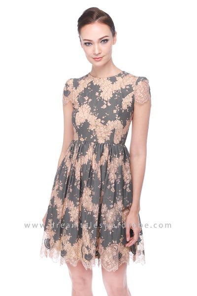 DT1114 Eyelash Floral Lace Dress - Gray