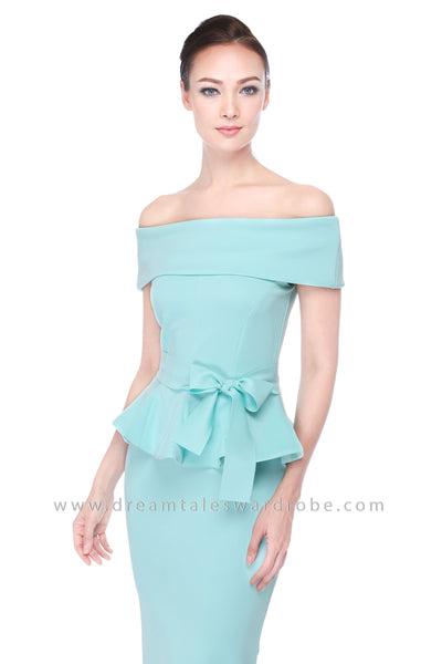 DT1115 Bardot Peplum Dress -  Mint Green