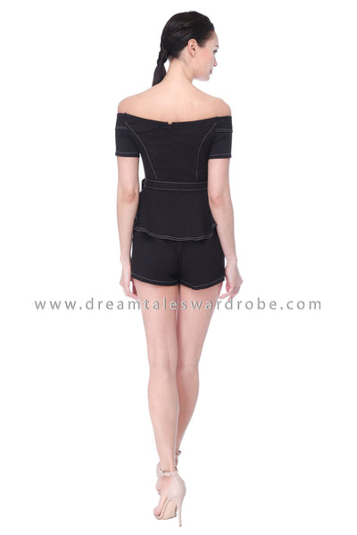 DT1118 Peplum Playsuit -  Black