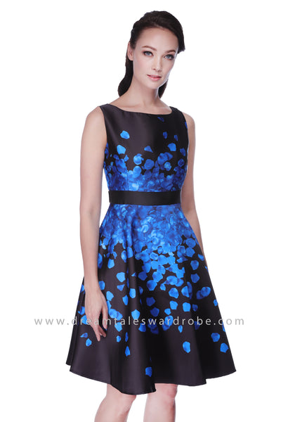 DT1122 Floral Print Fit & Flare Dress - Black With Blue Floral