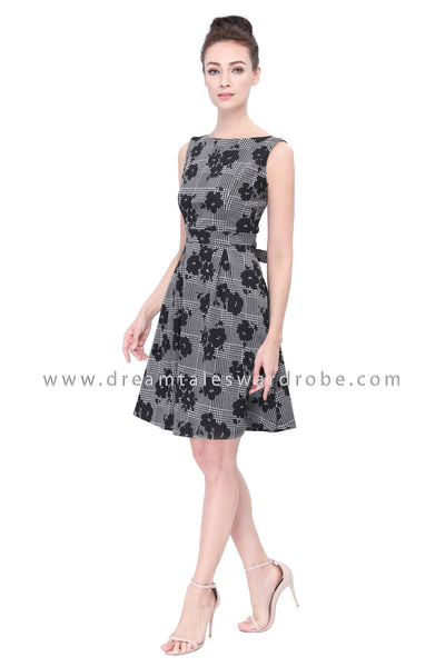 DT1123 Floral Pleated Dress -  Black
