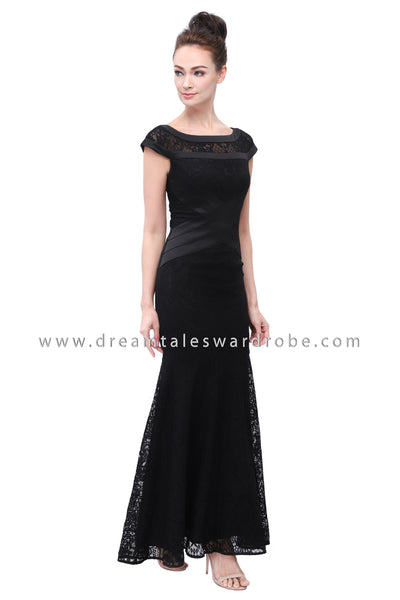DT1127 Lace Mermaid Evening Long Dress -  Black (Luxe)