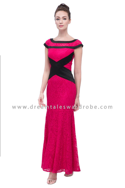 DT1127 Lace Mermaid Evening Long Dress -  Pink (Luxe)