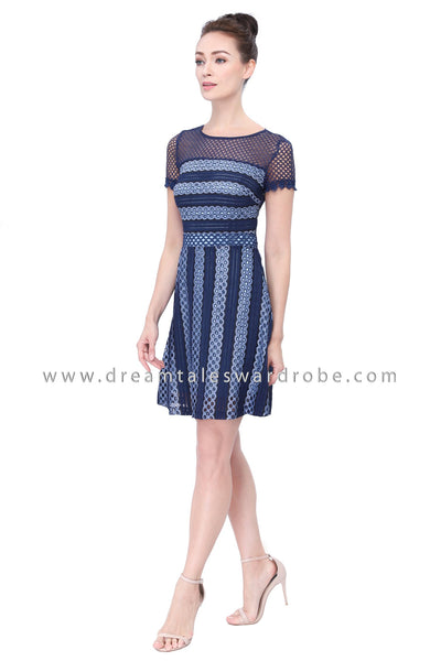 DT1129 Illusion 3D Lace A Line Dress -  Blue (Luxe)
