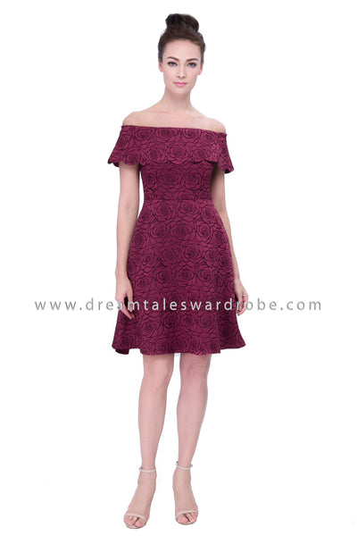 DT1130 Bardot Ruffles Floral Embossed Dress - Maroon