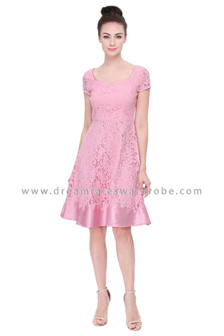 DT1131 Sweet Heart Lace Dress -  Pink (Luxe)
