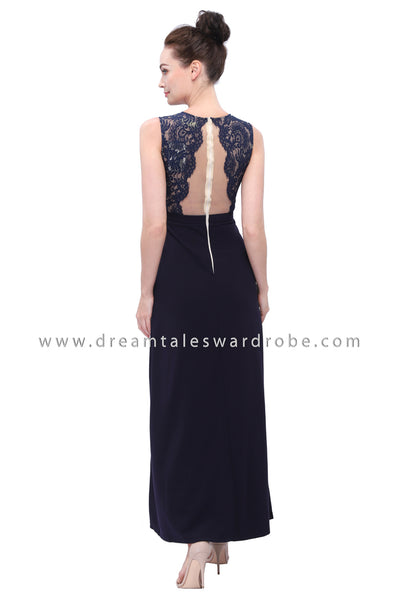 DT1136 Mesh Lace Blend Slit Long Evening Dress -  Blue