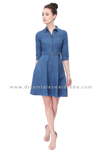 DT1139 Quarters Sleeves Jeans Dress - Medium Blue