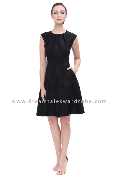 DT1141 Pleated Details Fit & Flare Dress -  Black