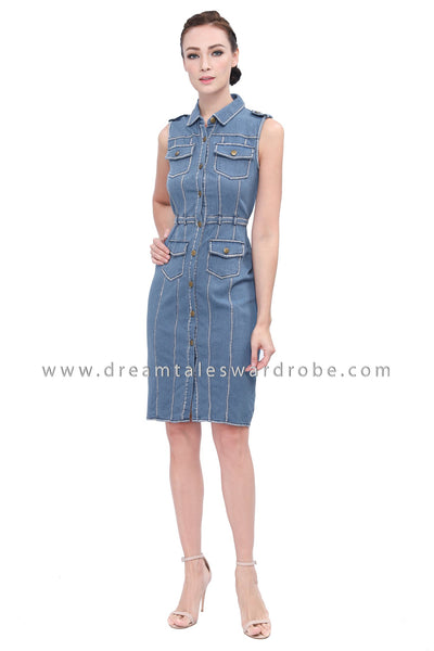DT1146 Collared Jeans Dress -  Light Blue