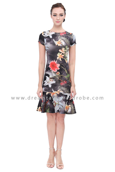 DT1147 Floral Mermaid Hem Dress - Black