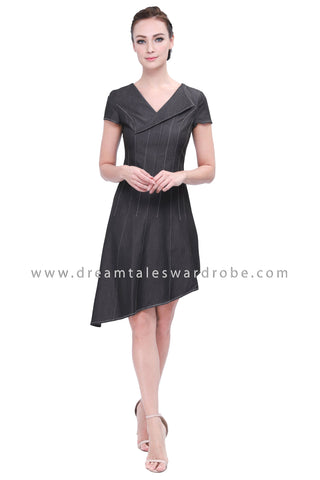 DT1150 Collar Details Asymmetrical Hem Dress - Gray (Luxe)