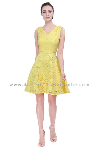 DT1151 Sleeveless  Laser Cut Dress -  Yellow