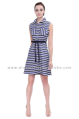 DT1153 Stripes Collared A Line Dress -  Blue