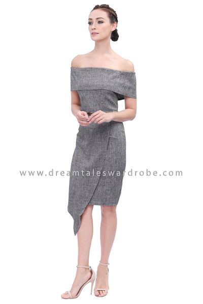 DT1154 Bardot Asymmetrical Slit Dress -  Gray
