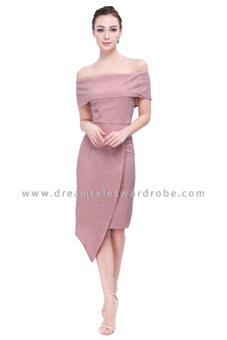 DT1154 Bardot Asymmetrical Slit Dress - Peach