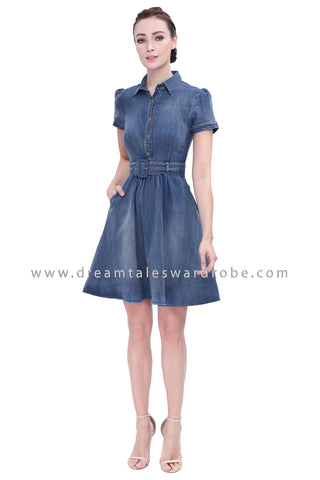 DT1156 Collared Fit & Flare Jeans Dress -  Blue