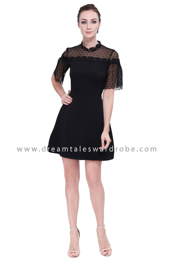 DT1157 Mesh Polka Dot Blend Fit & Flare Dress -  Black