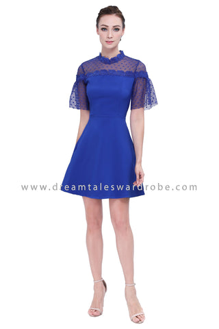 DT1157 Mesh Polka Dot Blend Fit & Flare Dress - Blue