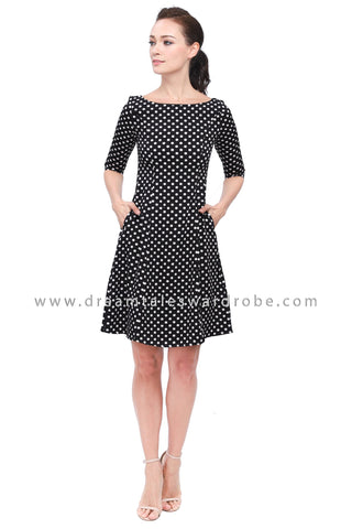DT1158 Polka Dot Fit & Flare Dress - Black