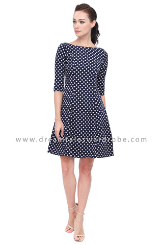 DT1158 Polka Dot Fit & Flare Dress -  Blue