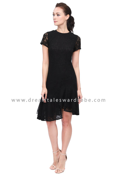 DT1159 Lace Asymmetrical Hem Flare Dress - Black