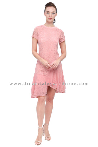 DT1159 Lace Asymmetrical Hem Flare Dress -  Pink